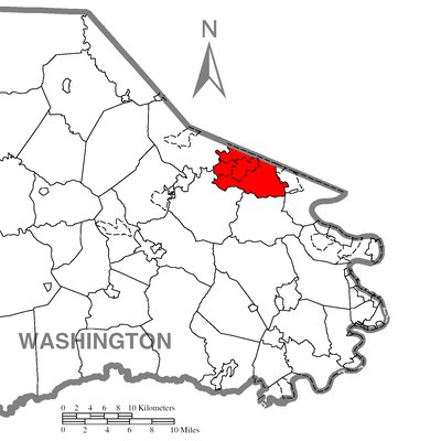 Map of Washington County higlighting Peters Township.