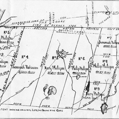 Map of the Philipse Patent, a land tract in lower New York State that became Putnam County. Latest date on it is 1771.