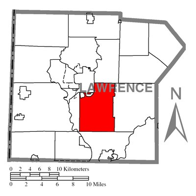 Map of Lawrence County higlighting Shenango Township.