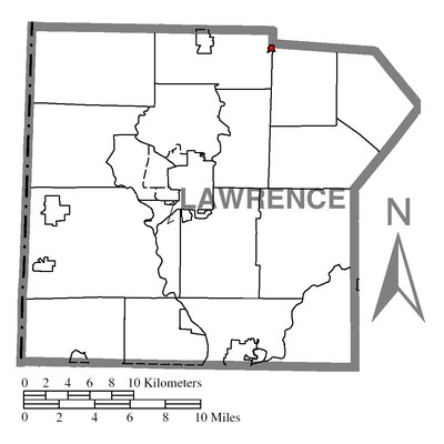 Map of Lawrence County higlighting Volant.