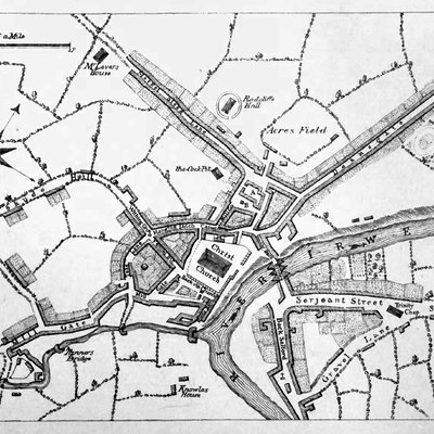 A map of Manchester from about 1650, from