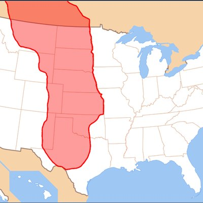 A map of the Great Plains, shaded in transparent red.