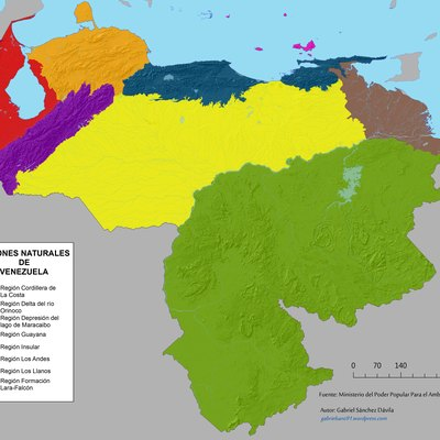 Map of Natural regions of Venezuela