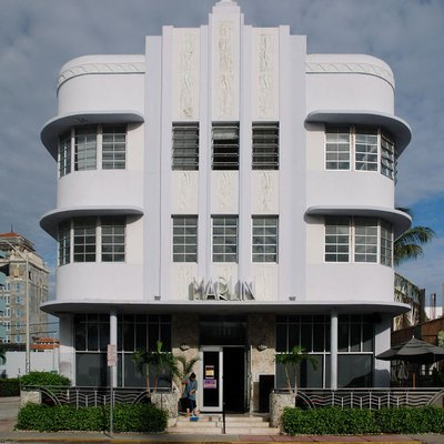 Marlin Hotel - Art Deco architecture on Collins Ave. Miami Beach