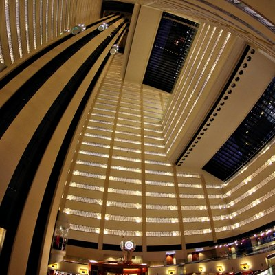 Looking up at the atrium of the Marriott Marquis New York.