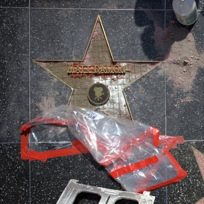 Matt Damon's star under construction on the Hollywood Walk of Fame, Hollywood California.