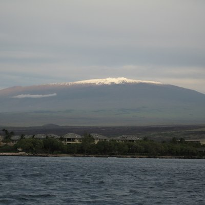 A view of the Mauna Kea volcano of Hawaii from the ocean.