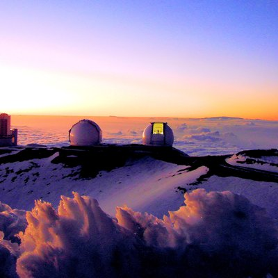 Telescopes of the Mauna Kea Observatory, Hawaii. Visible is the Subaru Telescope, W. M. Keck Observatory, and the NASA Infrared Telescope Facility.