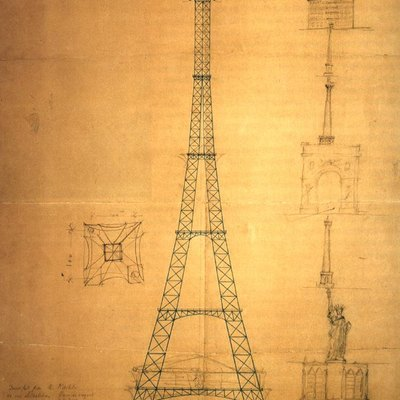 Blueprint of the Eiffel Tower by one of its main engineers, Maurice Koechlin (ca. 1884). Authorization given by Koechlin Family