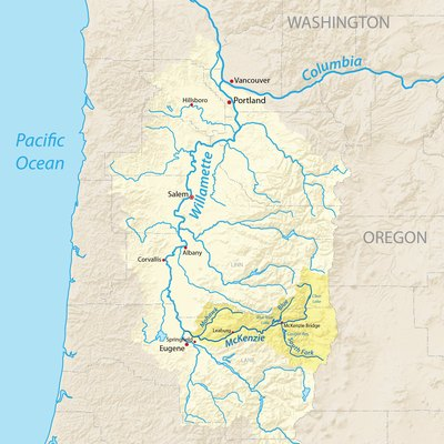 Map of the Willamette River basin in Oregon, USA – with the McKenzie River tributary highlighted. Made using USGS National Map data.