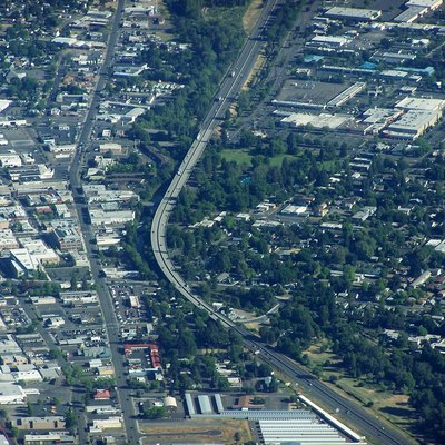 interstate 5 Traveling Over A Viaduct In Medford, Oregon