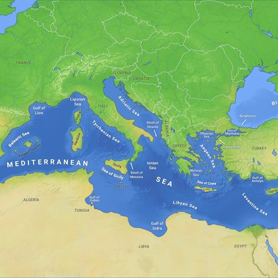Map of the Mediterranean Sea with subdivisions, straits, islands and countries