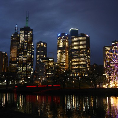 Melbourne Central Business District (CBD), Federation Square and the Yarra River at dusk