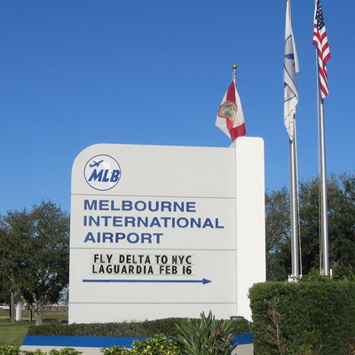 Monument sign at road entrance to Melbourne International Airport, One Terminal Parkway, Melbourne, Florida. This sign is located just off NASA Boulevard.
