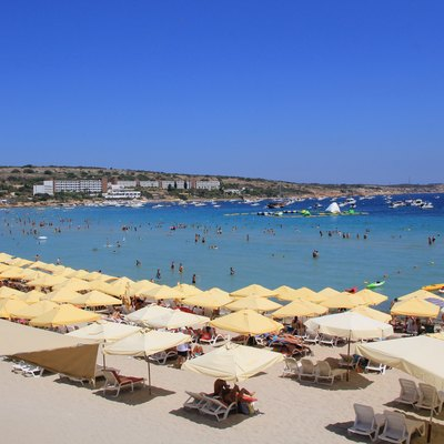 View on beach in Mellieħa Bay and its northern part, Malta