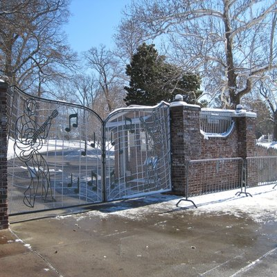 Graceland covered with snow. Memphis, Tennessee.