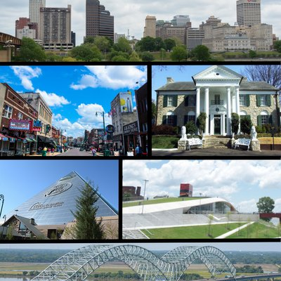 Collage of photos around Memphis, Tennessee