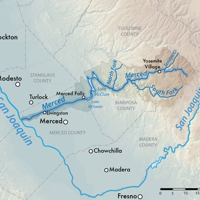 Map of the Merced River watershed in Central California, USA. Shaded relief from US Geological Survey.