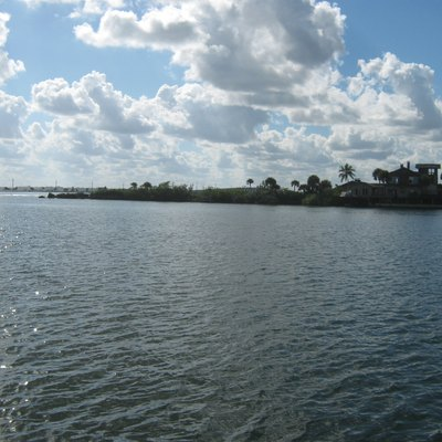 Southern most tip of Merritt Island, Florida from the Banana River side. This photograph was taken from the docks of Eau Gallie Yacht Club, 100 Datura Drive, Indian Harbour Beach, Florida. The southern tip of Merritt Island on Dragon Point Drive was the location of the Merritt Island Dragon, a landmark of the area. The dragon has been destroyed.