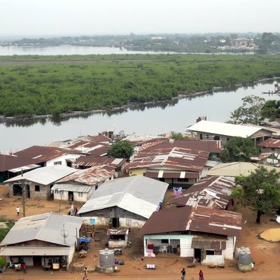 The Mesurado River at Monrovia, Liberia.
