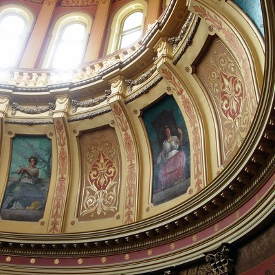 Michigan State Capitol, Interior, A Couple Of Mural Paintings.
