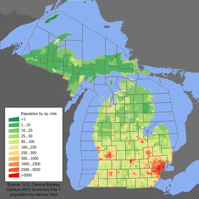Michigan population distribution