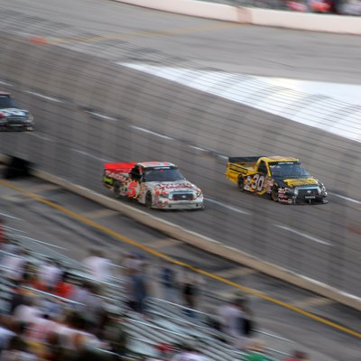 Nascar Drivers Mike Skinner (Nascar) (#5 On Left) Battling Todd Bodine At The Texas Craftsman Truck Series Race