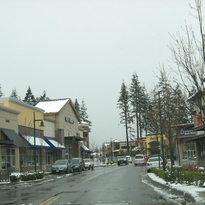 Main Street through the Mill Creek Town Center in Mill Creek, Washington