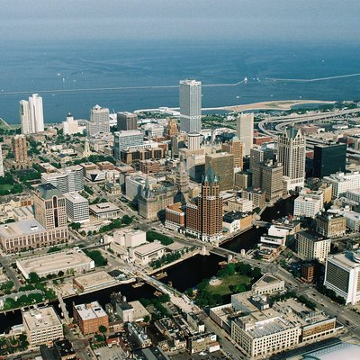 Aerial view of Milwaukee Downtown with Lake Michigan in the background and Milwaukee River in the foreground, Wisconsin, USA.