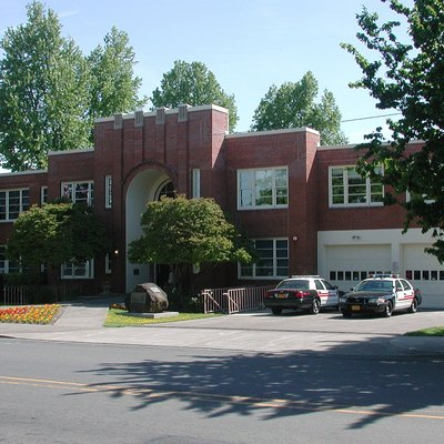 City Hall in Milwaukie, Oregon, United States. Photo taken from the west side of Main Street, looking east.