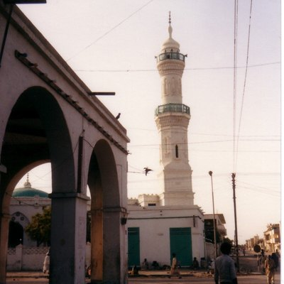 Mosque's minaret with balconies - in Port Sudan - Sudan.
