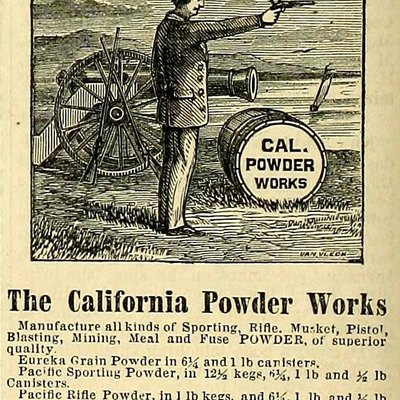 Advertisement for the California Powder Works, a major gunpowder and blasting powder manufacturer in Santa Cruz County, California, during the 19th century. (image cropped and lightened)
