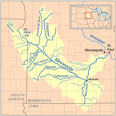 Map of the Minnesota River watershed — primarily within Minnesota.