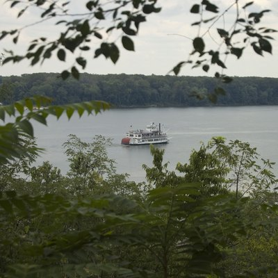 A view of a boat on the Mississippi. The picture was taken from Cardiff Hill in Hannibal, Missouri.