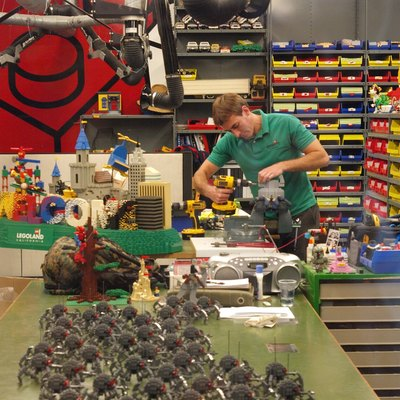 A view through the window into the Model Workshop near Miniland in Legoland California