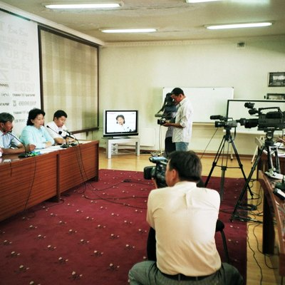 Mongolian media interviewing the Mongolian Green party in August 2008