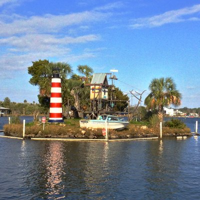 View of the Soutwest side of Monkey Island on Homosassa River, Florida USA