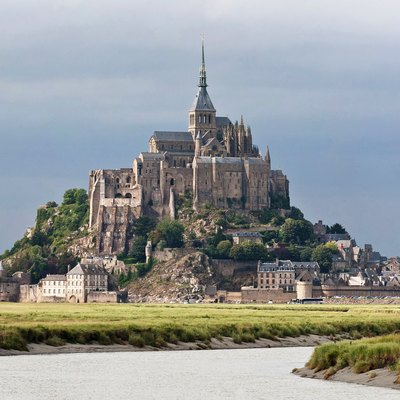 Mont Saint-Michel As Viewed Along The Couesnon River In Normandy, France