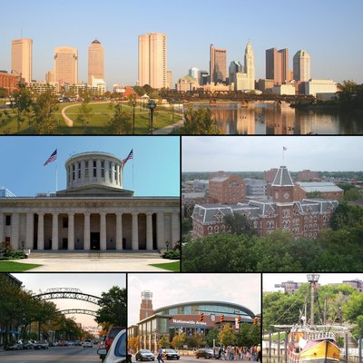 Montage of Columbus, Ohio images. From top to bottom left to right: