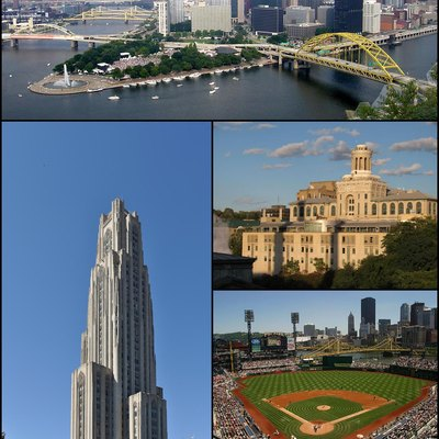 Montage of Pittsburgh images. From top to bottom left to right: