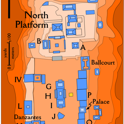 Plan of the Monte Alban archaeological site, created by MapMaster. The SVG original (which turned out to be smaller than anticipated) can be found at Image:Monte Alban archaeological site.svg.