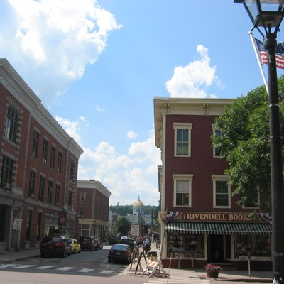 Downtown Montpelier, Vermont, with State Capitol in distance.