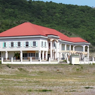 The Montserrat Cultural Center (2007) overlooks Little Bay. Beatles producter Sir George Martin raised funds for the construction.