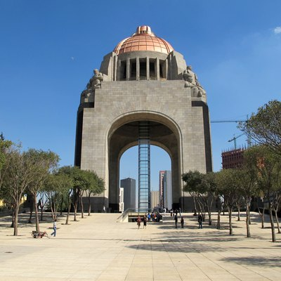 The Monument to the Revolution in Mexico City. It was to be the new legislative palace of the Díaz regime, but construction was interrupted by the Revolution.