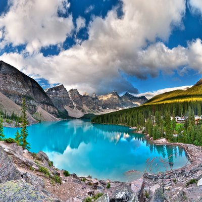 21-photo HDR panorama of Moraine Lake, a glacially-fed lake in Banff National Park, Alberta, Canada.
