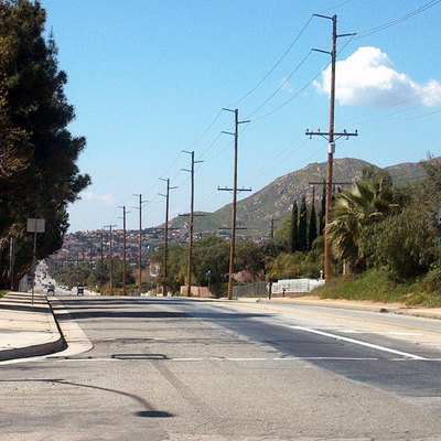 View of Moreno Valley, California looking west down Ironwood Avenue. Box Springs Mountain is visible at right. Taken by Slowking Man on Sunday, March 6, 2005.