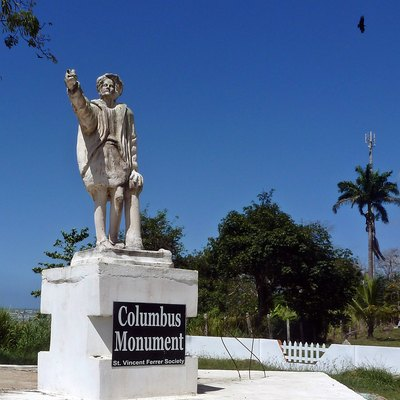 Moruga - Christopher Columbus monument. Columbus landed here on his third voyage in 1498. This is on the southern coast of the island of Trinidad, West Indies