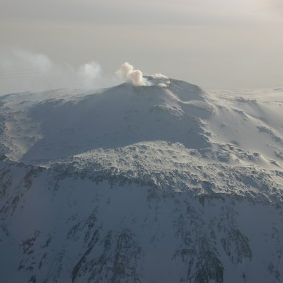 Aerial view of Mount Erebus crater, Ross Island, Antarctica