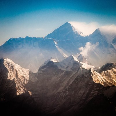 Nuptse, Mt. Everest and Lhotse in the early morning, in the foreground Thamserku (left) and Kantega (right of center) and Ama Dablam right behind the latter.
