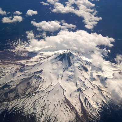 Northeast face of Mount Hood taken from an altitude of 39,000 feet above sea level on June 10, 2014.